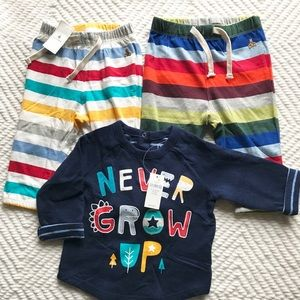 New Baby Gap Boys 3 Piece Lot 1 Shirt Stripe Pants